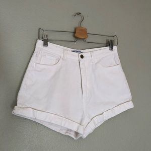 American Apparel High Waisted Jean Shorts White 29